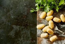 Freshly Made Gnocchi Dumplings With Parsley