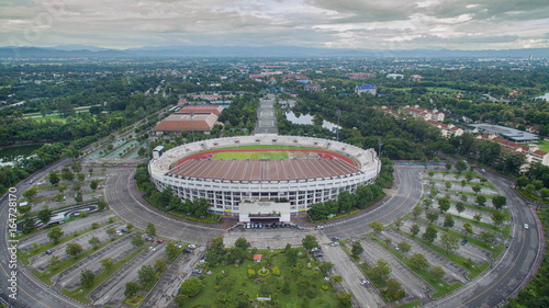 Poster Artistique Arial view Grandstand in 700th Anniversary Sport Stadium at Chiang Mai, Thailand