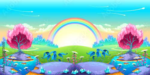 Poster Chambre d enfant Landscape of dreams with rainbow