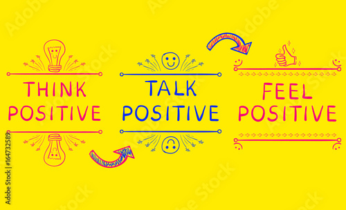 Stampa su Tela THINK POSITIVE, TALK POSITIVE, FEEL POSITIVE