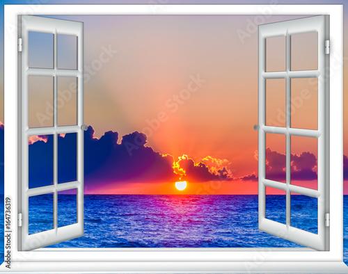 open window cloud sun