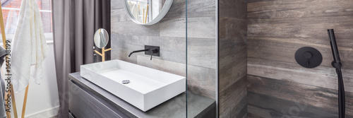 Bathroom with shower and basin Canvas Print