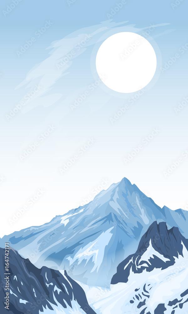Pionowe górskie tło