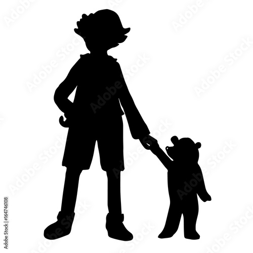 Photo  Black silhouettes of a boy and a little bear isolated on white background