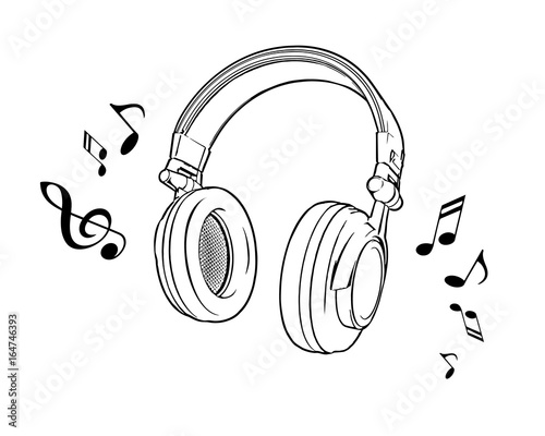 Vector illustration of a black and white headphones on a white background Obraz na płótnie