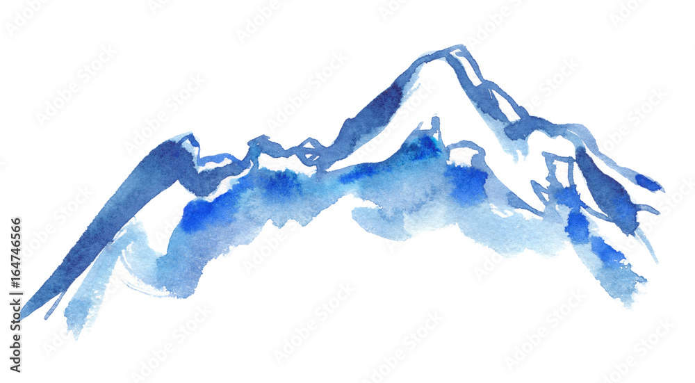 Fototapety, obrazy: Blue snowy mountain peaks painted in watercolor on clean white background