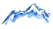 Leinwanddruck Bild - Blue snowy mountain peaks painted in watercolor on clean white background