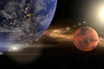 Fototapeta Blutmond oder Mars. Die Erde links oben, ein roter Planet rechts Mitte. Die Sonne rechts oben mit lensflare. Erstellt in 3d. Texturen der NASA