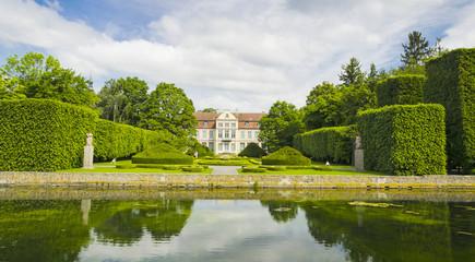 Panel Szklany Podświetlane Gdańsk malowniczy widok na pałac opatów w parku oliwskim w gdańsku