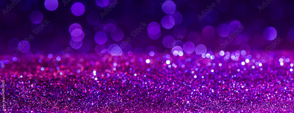 Fototapety, obrazy: purple Sparkling Lights Festive background with texture. Abstract Christmas twinkled bright bokeh defocused and Falling stars. Winter Card or invitation.