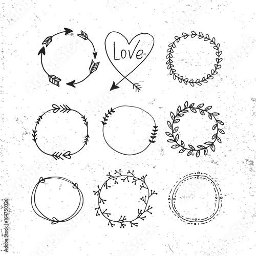 In de dag Boho Stijl Arrows, hearts, ornament - handdrawn wedding decor elements in boho style. Vector collection.
