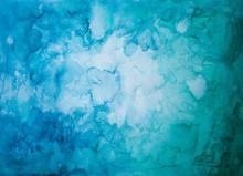 Abstrakter Hintergrund Aus Blauer Und Grüner Farbe Mit Vignette, Aquarell