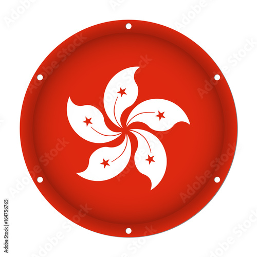 Photo  round metallic flag of Hong Kong with screw holes