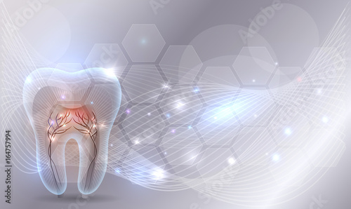 Beautiful transparent tooth illustration, abstract wave background and glow