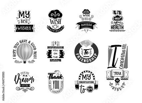 Photo  Wishes stickers, can be used for postcard design, social networks, blogs