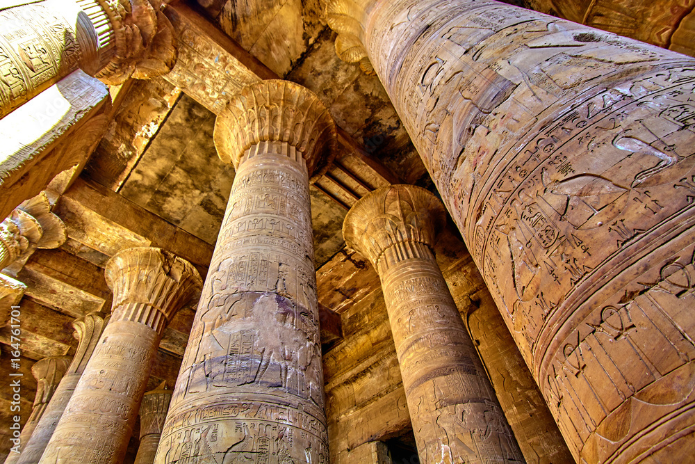 Fototapeta ancient egyptian architecture ruins. olumns of the Temple of Horus at Edfu, in Egypt