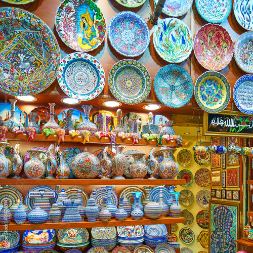 ISTANBUL, TURKEY -JULY 10 2017: Grand Bazaar, considered to be the oldest shoppi Poster