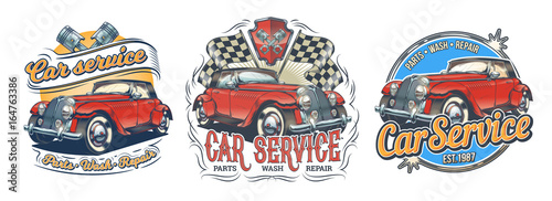 Set of vector vintage badges, stickers, signage for car service, car wash, store of spare parts with red retro car, isolated on white. Print, template, design element for advertising