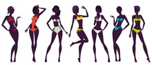 Women Silhouettes, Colorful Sw...