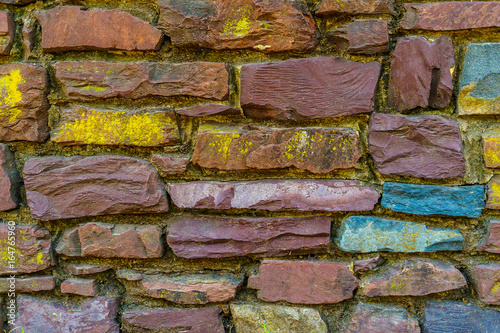Fototapeta Old red brick and stone wall cement texture
