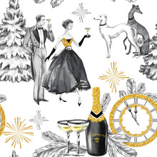 Watercolor Seamless Pattern In Retro Gold Style. Beautiful Couple, Bottle Of Champagne, Glasses, Greyhound Dogs, Jewellery Clock And Celebrate Accessories. Vintage New Year Illustration.