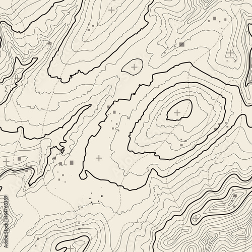 Deurstickers Kunstmatig Seamless pattern. Topographic map background with space for copy Seamless texture. Line topography map contour background , geographic grid . Mountain hiking trail over terrain .