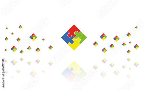 Photo Puzzle Quadrat Reflektierend Weiss