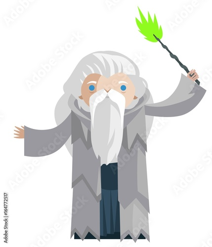 Photo old wizard with magical wand casting a spell