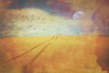 Surreal Deserted Sand Dune Lan...