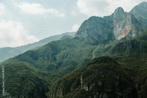 Tuinposter Groen blauw Beautiful mountains nature landscape at summer daytime