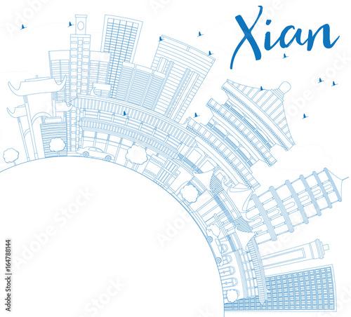 Staande foto Schilderingen Outline Xian Skyline with Blue Buildings and Copy Space.