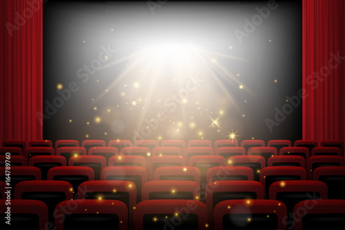 Movie Theater Background With Red Curtains Chairs White Screen And Magic Lights Vector Illustration Buy This Stock Vector And Explore Similar Vectors At Adobe Stock Adobe Stock