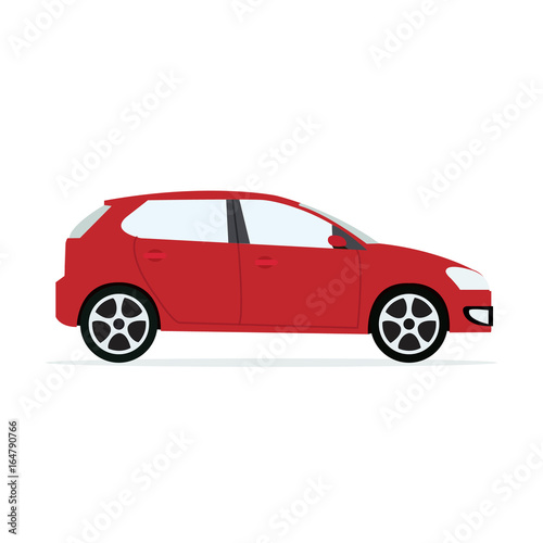 Staande foto Cartoon cars Red modern Car with isolated white background.Sport car vector.