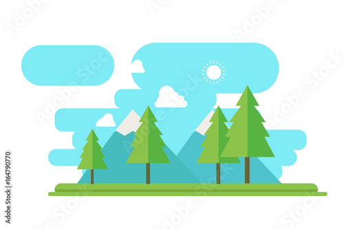 Spoed Foto op Canvas Turkoois Nature landscape with forest and mountain in flat style vector.