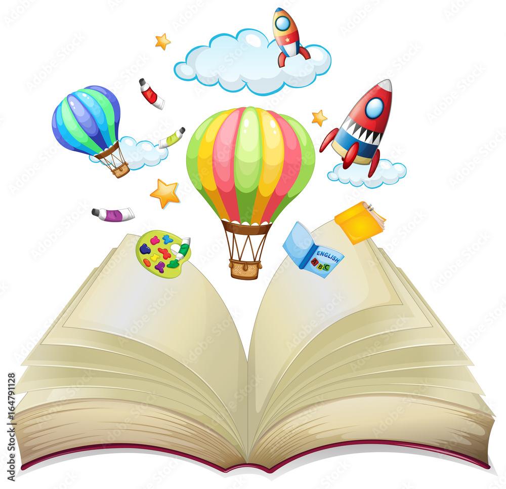 Balony i rakiety w książce <span>plik: #164791128 | autor: GraphicsRF</span>