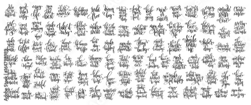 Obraz mega set of 100 hand lettering inscription, motivation and inspi - fototapety do salonu