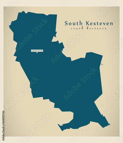 Map Of England Lincolnshire.Modern Map South Kesteven District Of Lincolnshire England Uk
