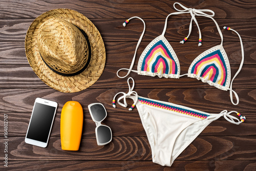 37180a01c6 Beach accessories on wooden background. Summer fashion concept - Buy ...