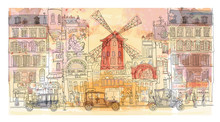 Paris In Watercolor, Moulin Ro...