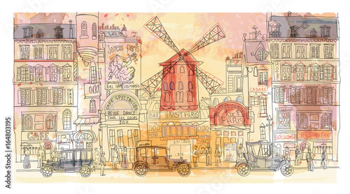 Spoed Foto op Canvas Art Studio Paris in watercolor, Moulin rouge