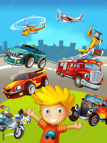Poster Cars cartoon scene with young boy and different vehicles - illustration for children