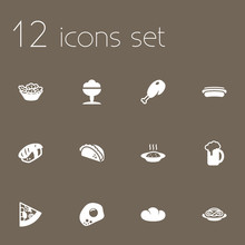 Set Of 12 Dish Icons Set.Colle...