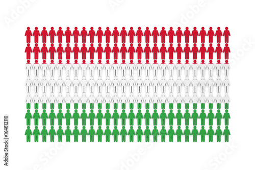 Hungary population concept  group of stick figure people