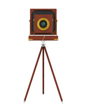 Vintage Wooden Camera Isolated