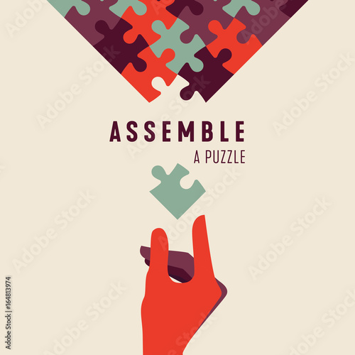 Assemble a Puzzle and hand vector graphic poster Fototapet