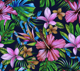 amazing seamless tropical pattern with snake skin