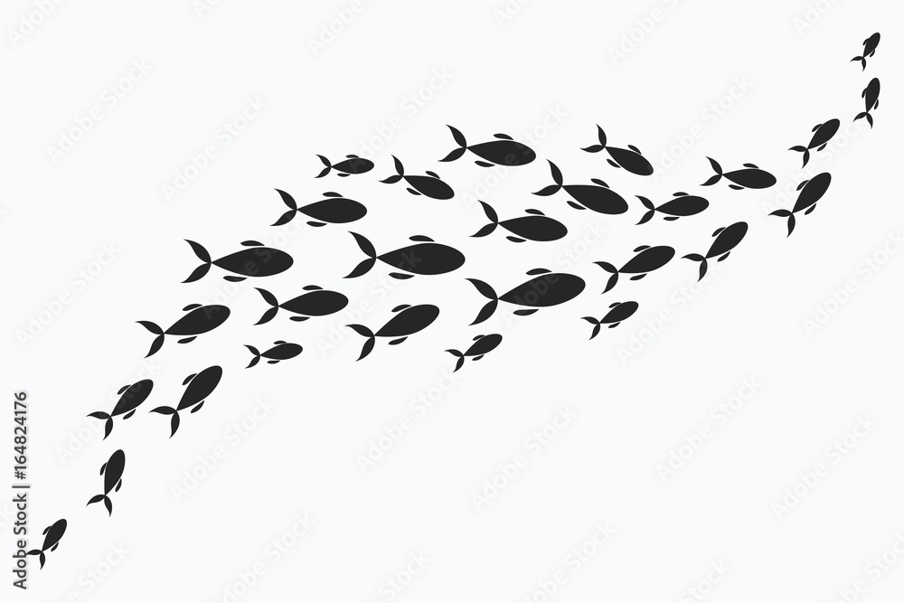 Fototapeta Silhouettes of groups of sea fishes. Colony of small fish. Icon with river taxers.