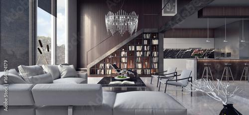 Foto  Living room, interior design 3D Rendering