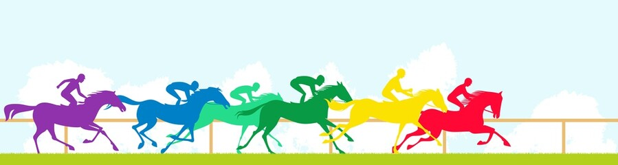 Race horses and colorful silhouettes