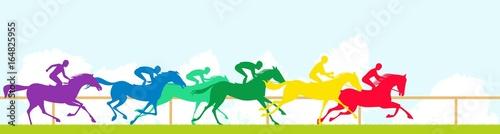 Fototapeta Race horses and colorful silhouettes obraz